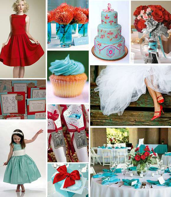 Turquoise And Red Wedding Ideas: Red And Aqua Blue