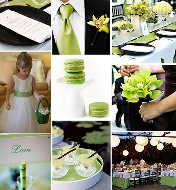 Black, white green wedding colours -primadonnabride