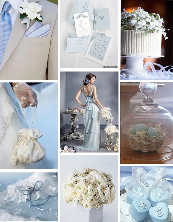 Pale blue and white wedding inspiration board - primadonnabride copy