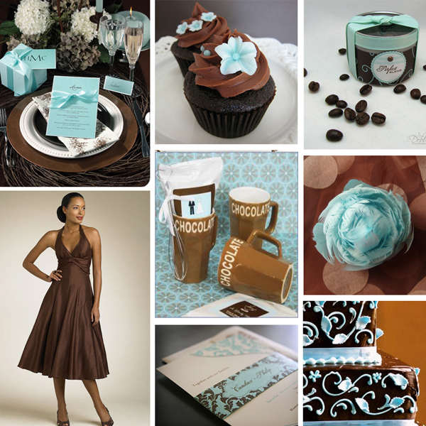 wedding colors turquoise Aqua And Brown Wedding Primadonnabride