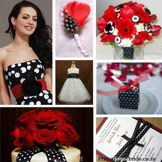 Black, white and red polka dot
