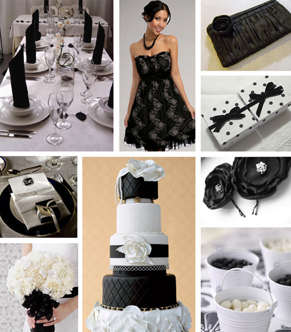black and white wedding with red. red white and lack wedding