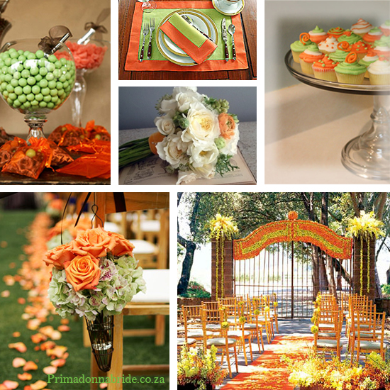 Green and Orange wedding colours - Primadonnabride.co.za
