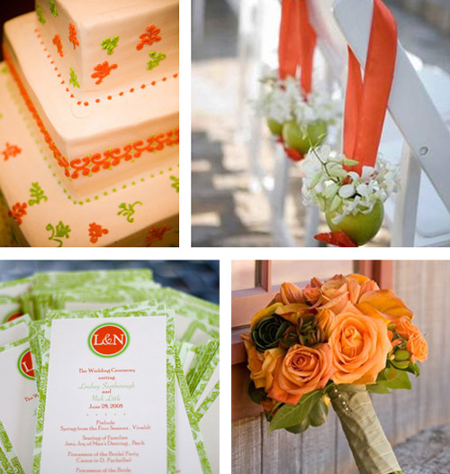 Orange and green wedding colours