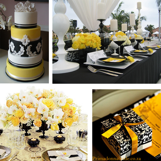 Yellow, black and white wedding damask colours - Primadonnabride.co.za