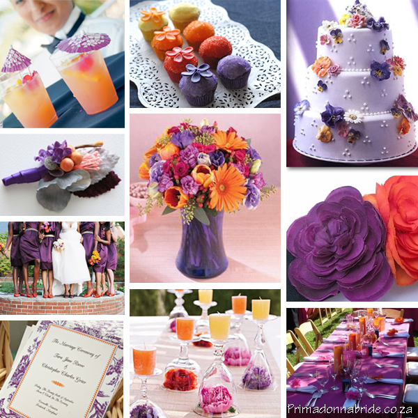 Purple and orange wedding colours - primadonnabride.co.za