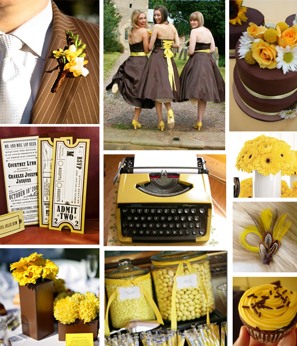 Brown and yellow wedding colours Primadonnabridecoza