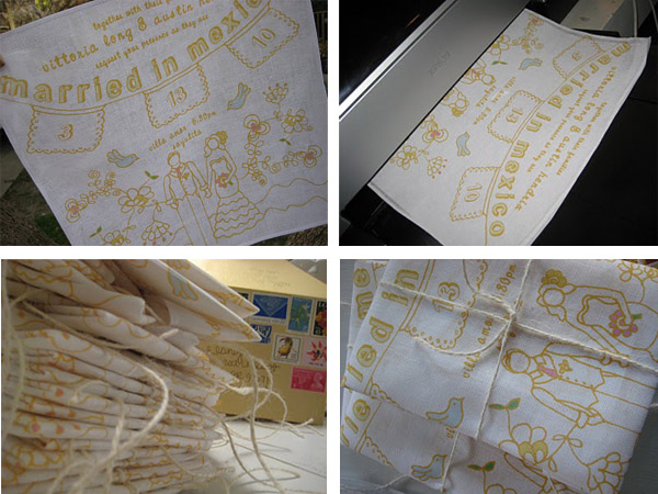 Stunning and uniquely different wedding invitations printed onto hankies