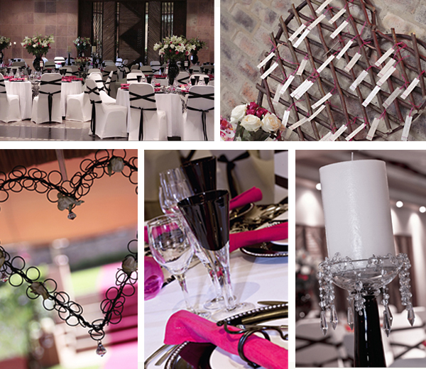 Black white and cerise is such pretty colour combination for a wedding