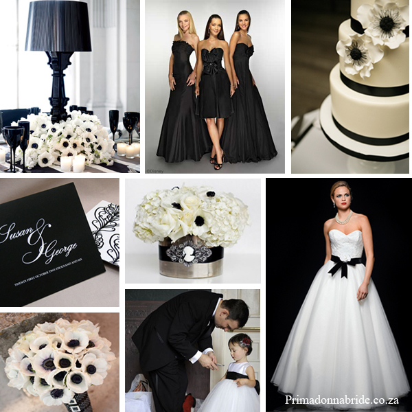 anemones black and white wedding primadonna bride