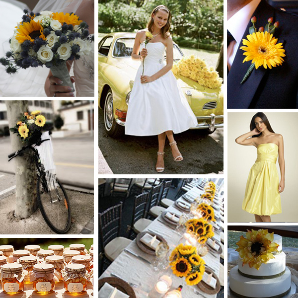 Sunflowers Black white and yellow sunflower wedding credits Bouquet