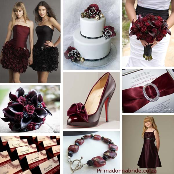 Burgundy and black wedding colours
