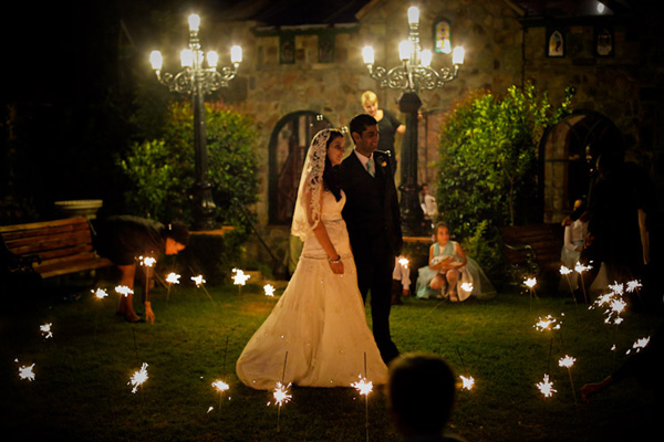 Wedding sparklers - Louisa and Eitzaz