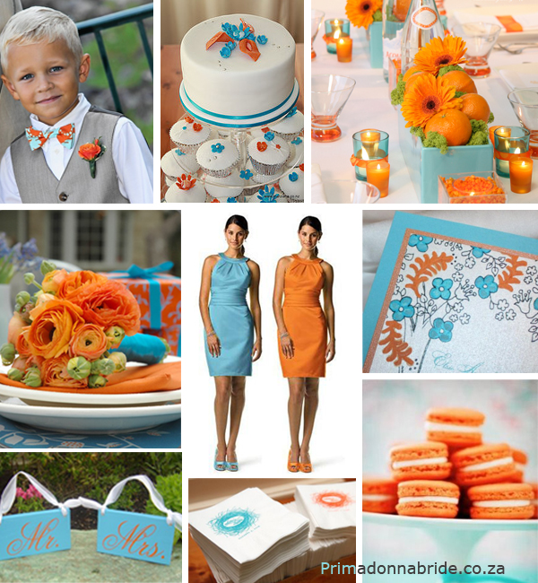 Orange and Aqua Wedding Cake http://www.primadonnabride.co.za/2010/11/orange-and-aqua.html