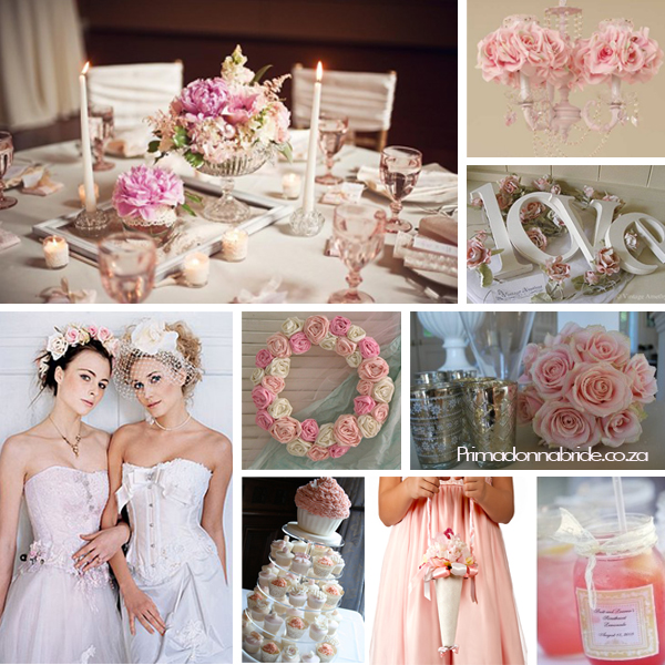 Pink and white shabby chic wedding Table setting Chandelier Love words