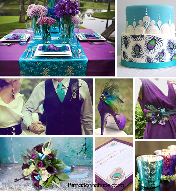 Vibrant peacock inspired wedding colours