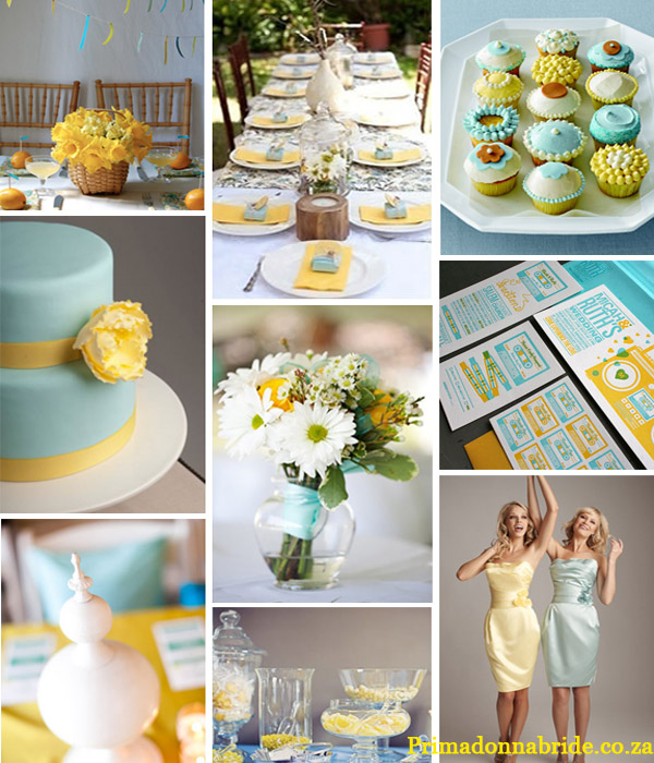 Yellow and blue wedding colours Credits Flowers Table setting