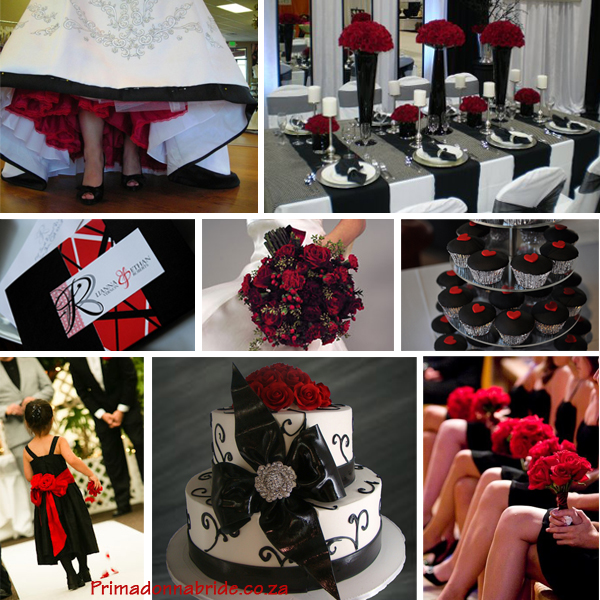Dramatic Red and Black wedding ideas Credits Wedding dress Table setting