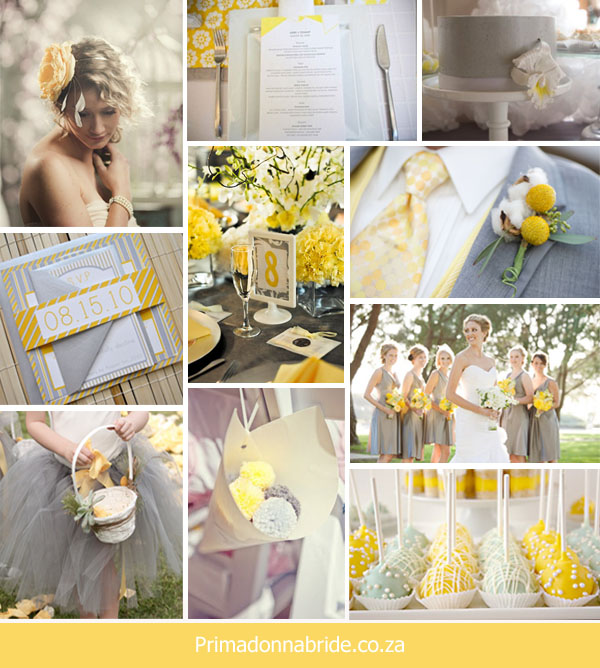 Wedding colours Yellow and Grey Author Carol