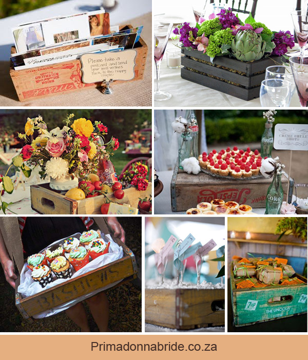 Crates as wedding decor