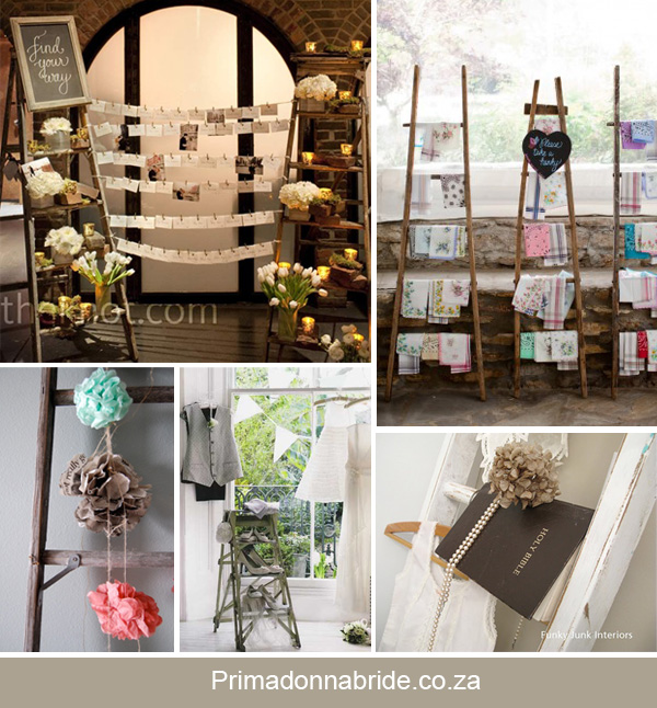 Ladders as wedding decor