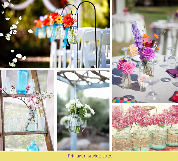 The many uses for glass jars - flowers in jars