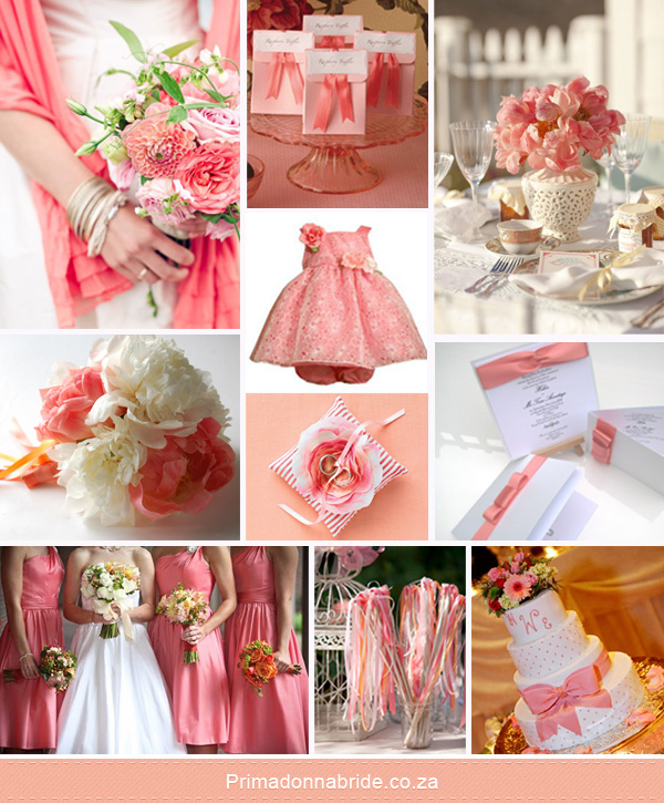 Coral and white wedding colours