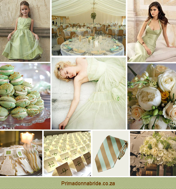 wedding colours light green and gold primadonna bride