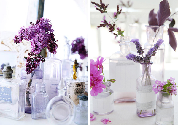Flowers-in-glass-bottles
