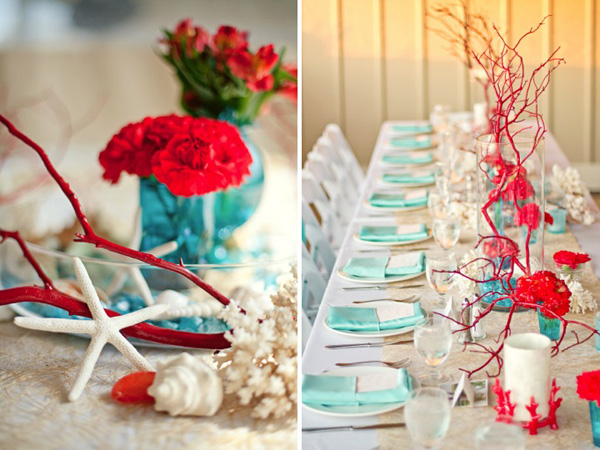 Red and aqua blue table setting