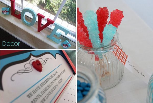 Wedding colour inspiration - red and aqua blue
