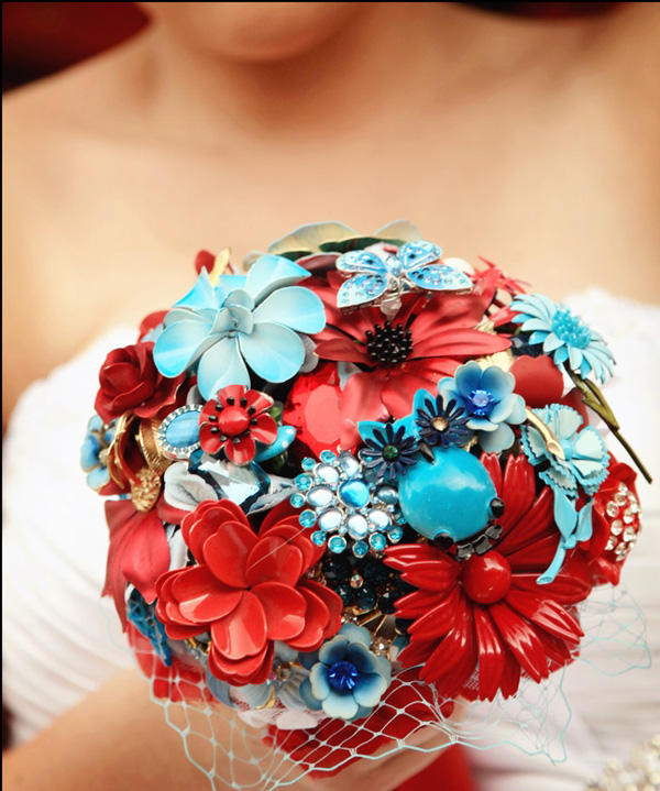 red and blue brooch bouquet